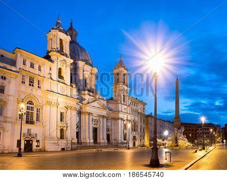 Scenic View Of Piazza Navona In Rome Before Sunrise