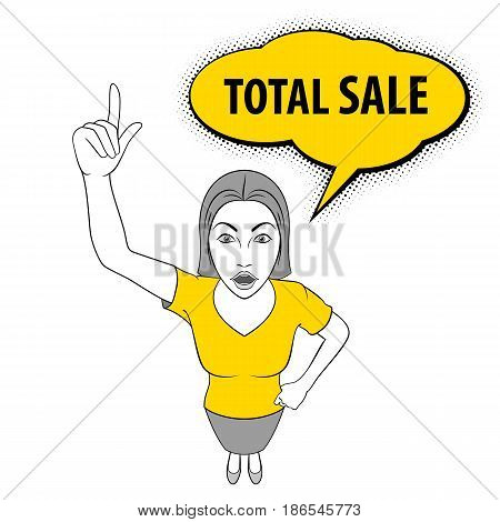 Illustration of a Young Woman Pointing Her Finger Up. Total Sale