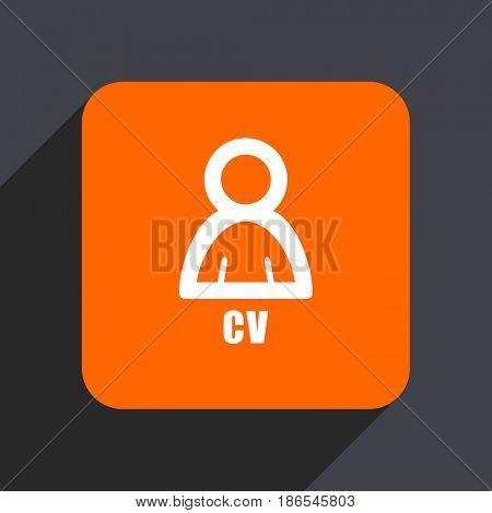 Cv orange flat design web icon isolated on gray background