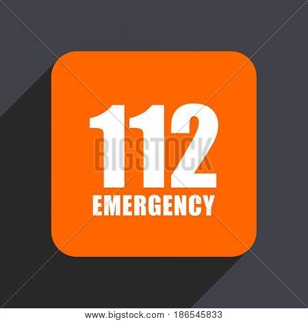 Number emergency 112 orange flat design web icon isolated on gray background