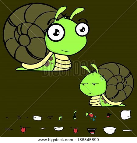 funny little snail cartoon expressions set in vector format very easy to edit