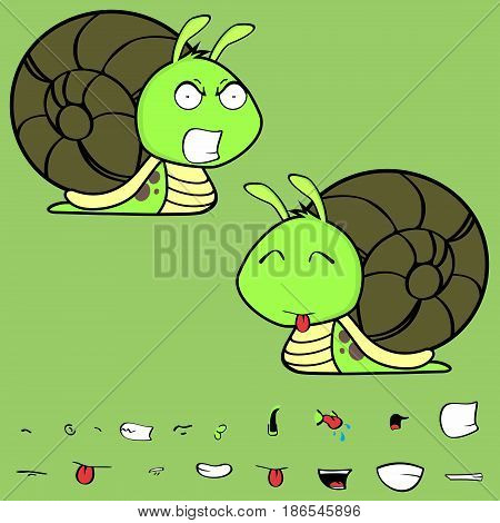 angry little snail cartoon expressions set in vector format very easy to edit