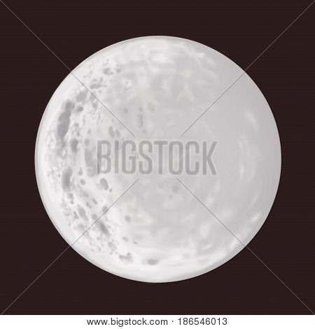 Full round moon. Grey colors. Planet surface.