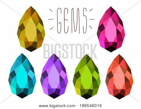 Set of 6 colorful gemstones. Drop formed treasure stones. Jewelry crystal. Isolated on white. Blue red violet brown green pink. Diamond. Amethyst. Sapphire. Emerald. Topaz.