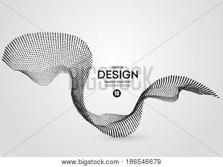 Abstract background with dots lines. Vector particles. Halftone wavy line shape. For business, science, technology design