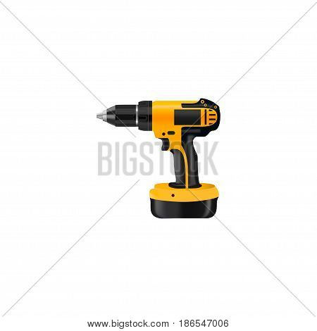 Realistic Drill Element. Vector Illustration Of Realistic Electric Screwdriver Isolated On Clean Background. Can Be Used As Drill And Electric Screwdriver Symbols.