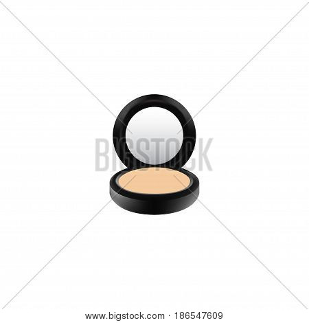 Realistic Powder Element. Vector Illustration Of Realistic Blusher Isolated On Clean Background. Can Be Used As Blusher, Powder And Makeup Symbols.