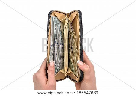 Women's Hands Holding Leather Wallet With A Wad Of Hundred Dollars. Business Offer.