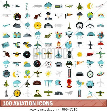 100 aviation icons set in flat style for any design vector illustration