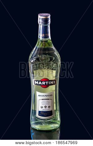 Ternopil, Ukraine - April, 18, 2017: Bottle Of Martini Bianco Isolated On Black Background, Vermouth