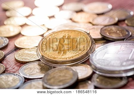 New Virtual Money Bitcoin And Litecoin With Euro Coin