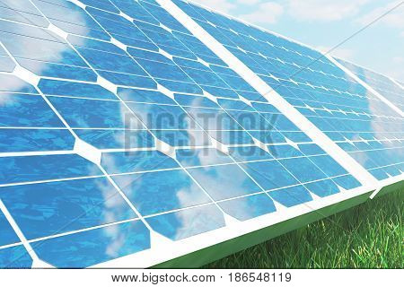 3D illustration solar panels on sky background. Alternative clean energy of the sun. Power, ecology, technology, electricity. Lighting and background are from NoEmotion HDRs