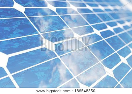 3D illustration solar panels with reflection the sunny sky. Background of photovoltaic modules for renewable energy. Lighting and background are from NoEmotion HDRs