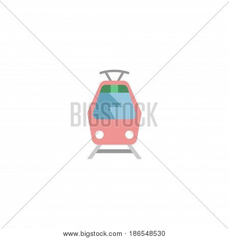 Flat Tram Element. Vector Illustration Of Flat Streetcar Isolated On Clean Background. Can Be Used As Tram, Streetcar And Tramcar Symbols.