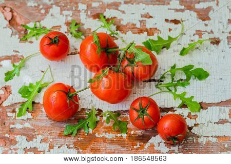Fresh organic ripe tomatoes with water drops, basil leaves on wooden old shabby vintage table with cracked. Healthy food concept, antioxidant and diet