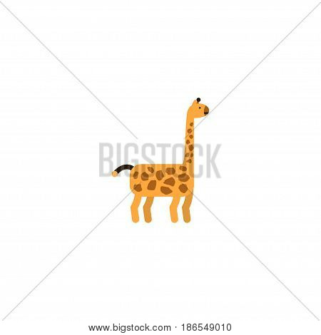 Flat Giraffe Element. Vector Illustration Of Flat Animal  Isolated On Clean Background. Can Be Used As Giraffe And Animal Mammal Symbols.