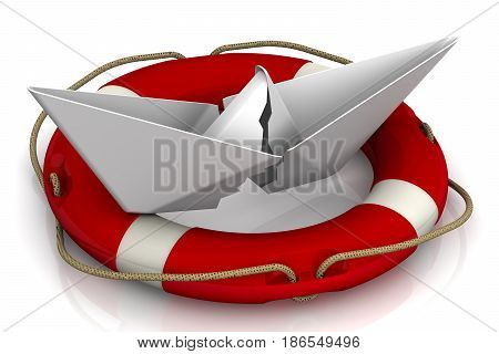Torn paper boat in the lifebuoy on a white surface. Isolated. 3D Illustration