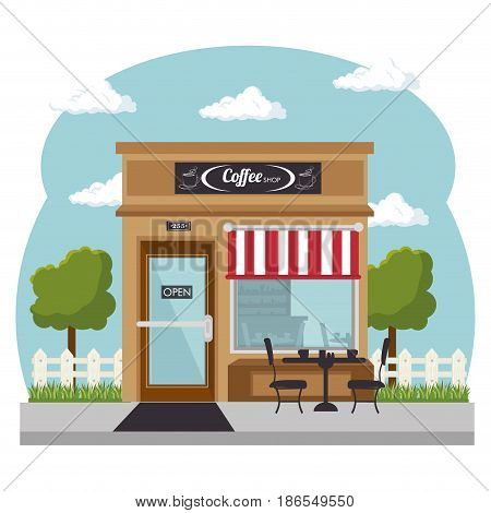 Seen from outside, coffee shop with red and white awning, and shopwindow over white background. Vector illustration.