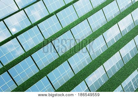 3D illustration solar panels on sky background. Alternative clean energy of the sun. Power, ecology, technology, electricity