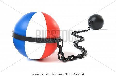 France hold back by a Ball and Chain restraint device