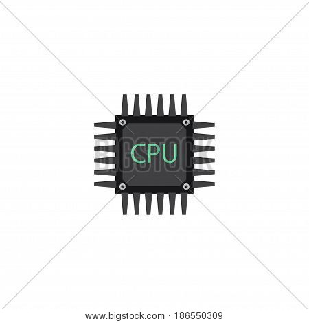 Flat Cpu Element. Vector Illustration Of Flat Microprocessor Isolated On Clean Background. Can Be Used As Cpu, Microprocessor And Motherboard Symbols.