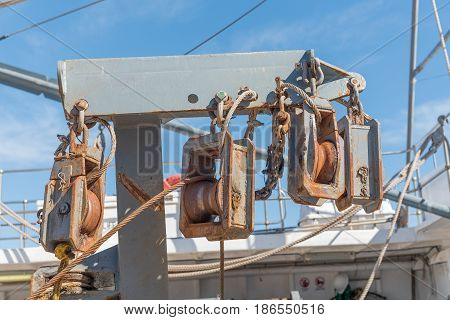 LAAIPLEK SOUTH AFRICA - APRIL 1 2017: Close-up of equipment on a fishing trawler in the harbor in the mouth of the Berg River at Laaiplek on the Atlantic coast of South Africa