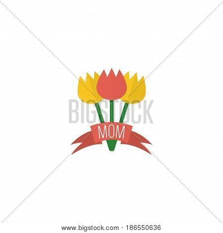 Flat Flower Element. Vector Illustration Of Flat Tulips Isolated On Clean Background. Can Be Used As Bouquet, Flower And Tulips Symbols.