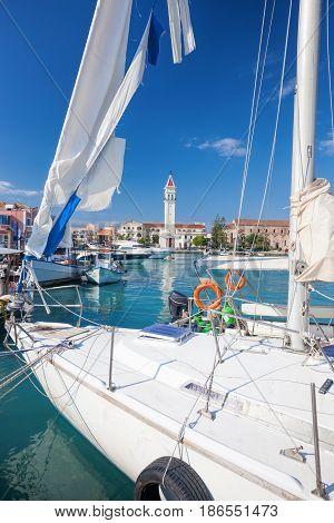 Zakynthos town with luxury yacht in Greece