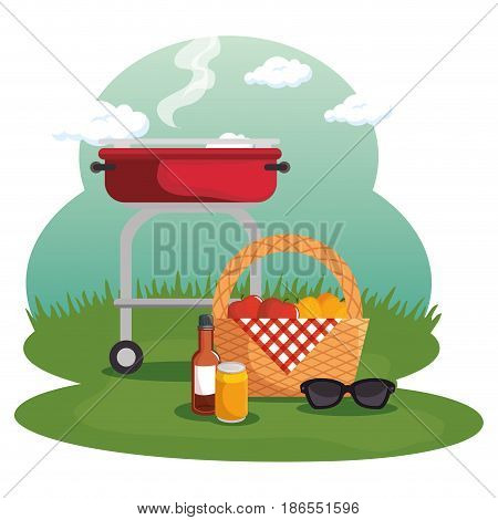 Picnic basket and barbecue roaster at field over white background. Vector illustration