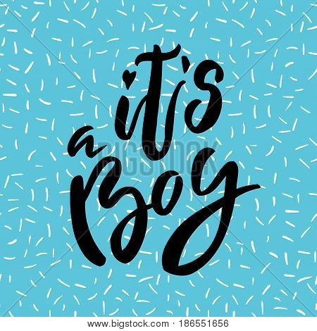 It is a boy lettering. Family photography overlay. Baby photo album element. Hand drawn blue nursery design. handwritten brush pen calligraphy isolated. Vector illustration stock vector.