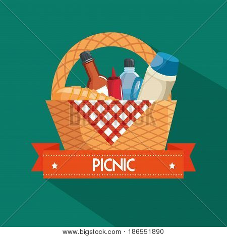 Picnic basket, food, red gingham cloth over teal background. Vector illustration