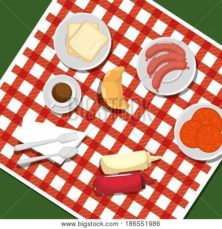 Picnic time design with red gingham pattern blanket and food over green background. Vector illustration.