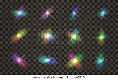 Vector Light Effects Set with Transparent Background