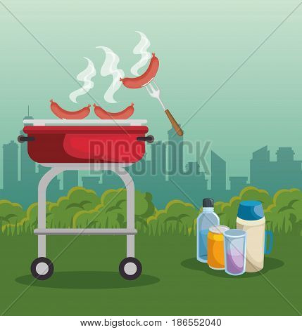 Barbecue roaster, drinks and sausages over city background. Vector illustration.