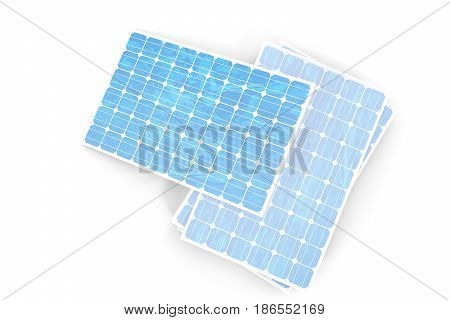 3D illustration solar power generation technology. Blue solar panels. Concept alternative electricity source. Eco energy, clean Energy isolated on white background