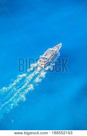 Zakynthos Island With Tourist Boat In Greece