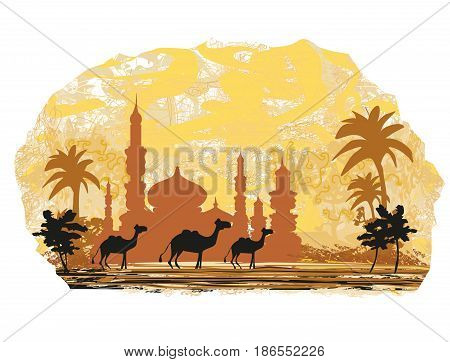 Camel trip with mosque background , vector illustration