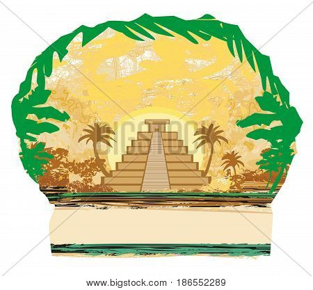 Mayan Pyramid Chichen-Itza Mexico - grunge abstract background , vector illustration