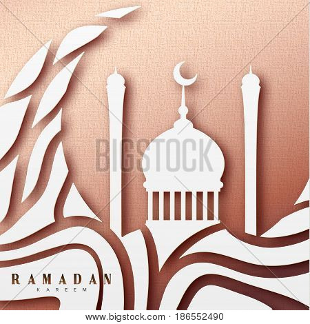 Ramadan greeting card with arabic calligraphy Ramadan Kareem. Islamic background with mosques.