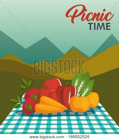 Picnic time design with teal gingham pattern blanket and vegetables over mountain landscape background. Vector illustration.