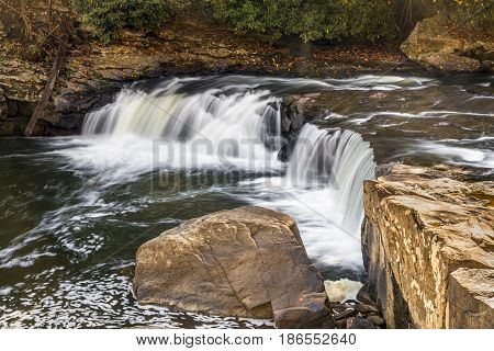 The Youghiogheny River splashes over Lower Swallow Falls in western Maryland.