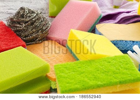 Colorful sponges in detail as background Studio shot