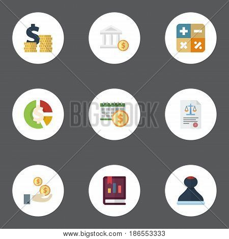 Flat Stock, Book, Profit And Other Vector Elements. Set Of Accounting Flat Symbols Also Includes Chart, Act, Asset Objects.