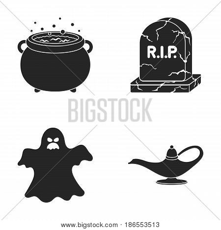A witch's cauldron, a tombstone, a ghost, a gin lamp.Black and white magic set collection icons in black style vector symbol stock illustration .
