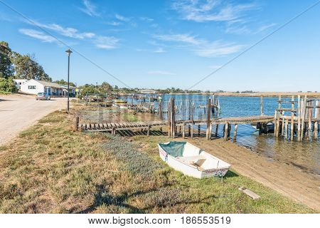 VELDDRIF SOUTH AFRICA - APRIL 1 2017: A view of the waterfront on the Berg River at Bokkom avenue in Velddrif