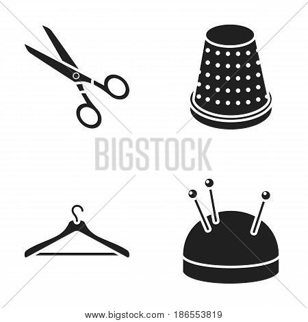 Scissors, thimble, clothes hanger, cushion with pins.Atelier set collection icons in cartoon style vector symbol stock illustration.