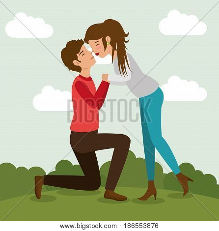 Man on his knees holding woman's hands and kissing  with bushes and clouds. Vector illustration.