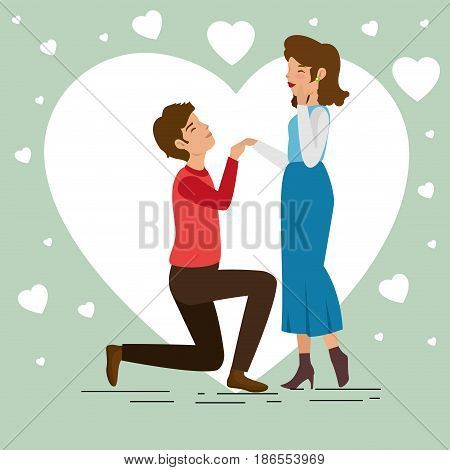 Man on his knees holding his girlfriend's hand and heart over green background. Vector illustration.