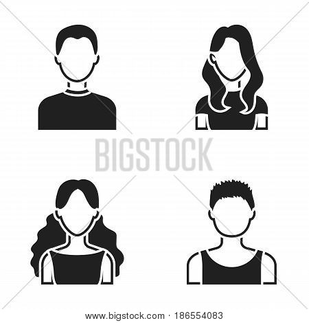 Girl with long hair, blond, curly, gray-haired man.Avatar set collection icons in black style vector symbol stock illustration .