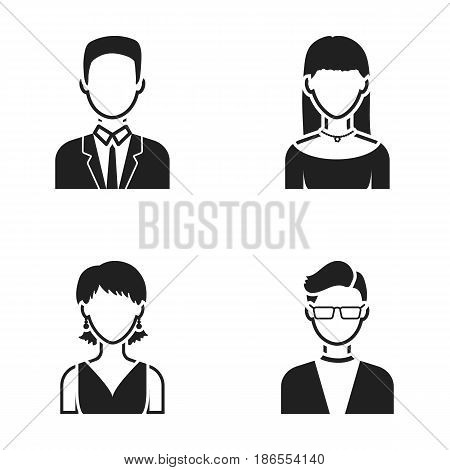A man with glasses, a girl with a bang, a girl with earrings, a businessman.Avatar set collection icons in black style vector symbol stock illustration .